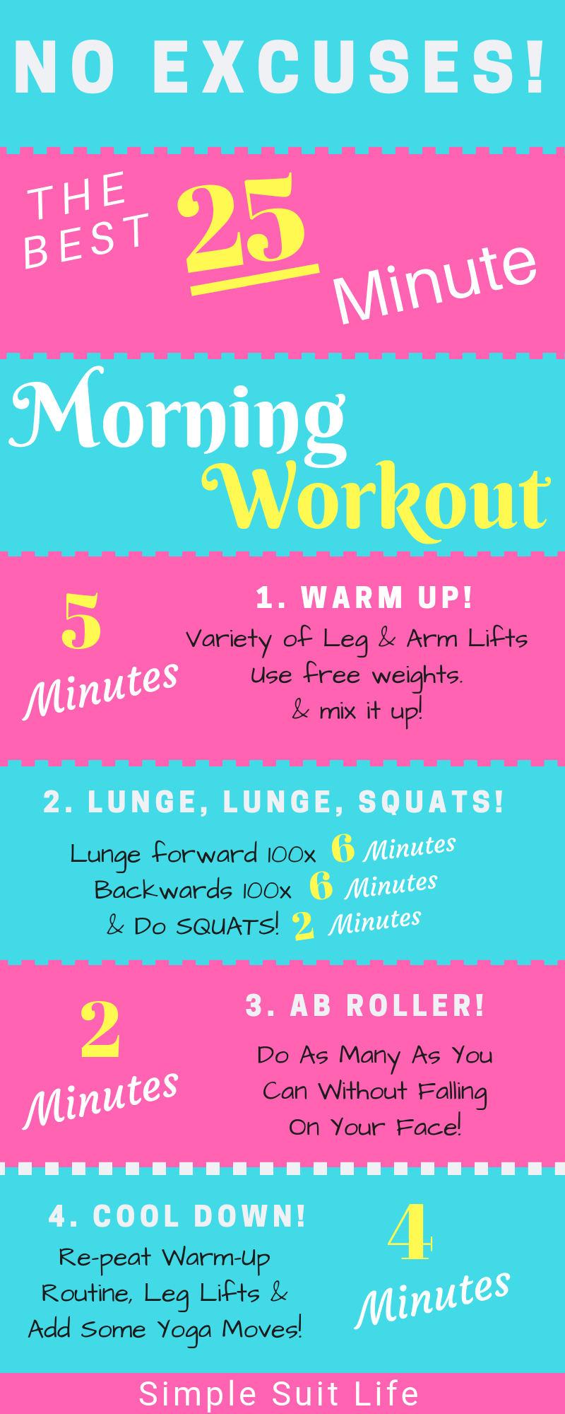 This morning workout routine is the best plan a person should get into! It strengthens your core, back and speeds up your metabolism! This is a must if you have a job where you sit too much! #Fitness #Health #MorningWorkoutRoutine #Lunges