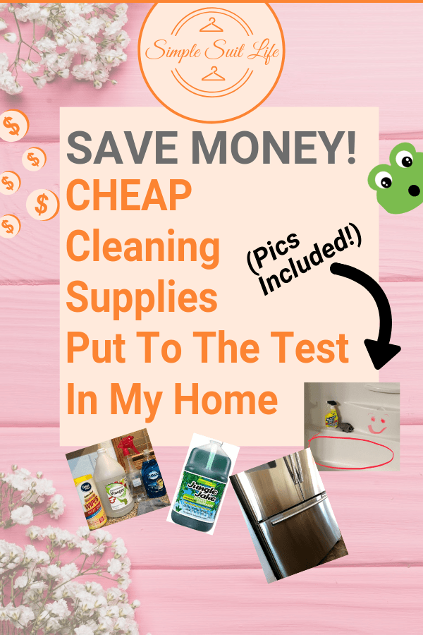 Cheap does not mean lack in quality! This is a least of my favorite frugal cleaning supplies, how I use them in my home and how I store them safely. Pictures of my dirty kitchen & bathroom included! :) #CleaningProducts #CleanKitchen #CleanHome #HomeOrganization