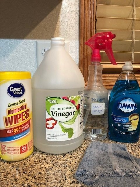 cleaning supplies water vinegar disinfectant wipes dawn dishsoap