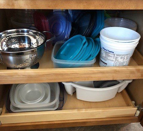 drawers storing tupperware