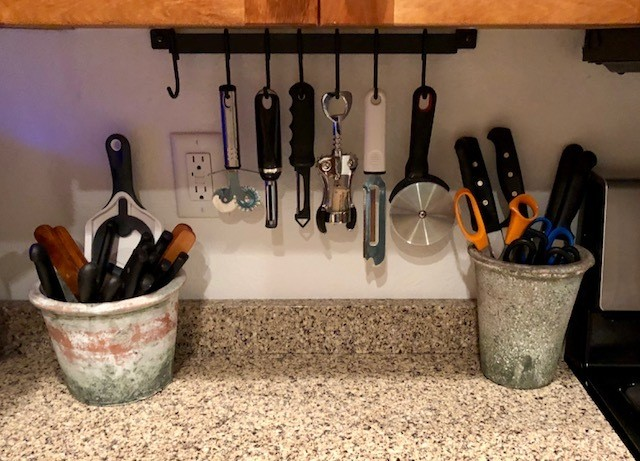 Safely store kitchen knives scissors and sharp objects