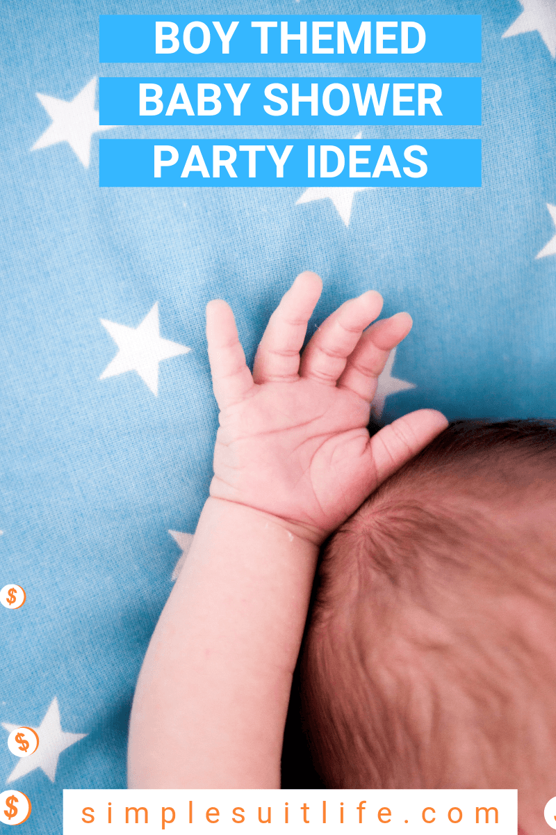 Hosting a baby shower for a bouncing baby boy is a blast! There are so many fantastic ideas ranging from trucks, tractors, trains, sports, etc.  And yes, some can involve the color blue. These are the best boy themed baby shower ideas! #BabyShowerForBoys #BabyShowerPartyForBoys